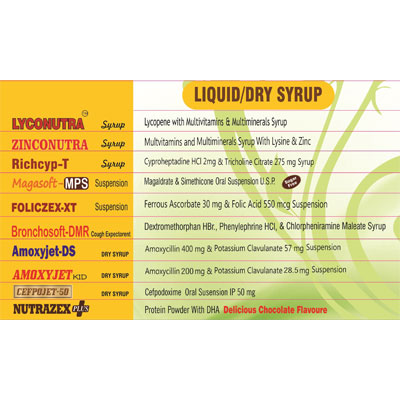 Oral Liquids/ Dry Syrups.
